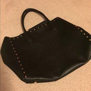 •H&M• black leather tote